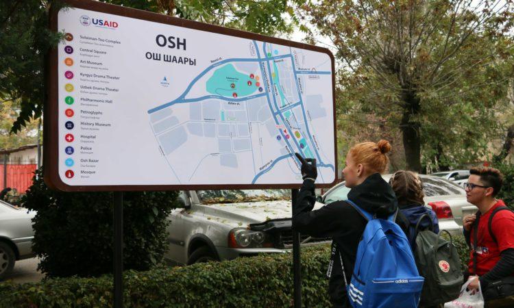 Новые уличные указатели и карты сделают Ош удобным для туристов