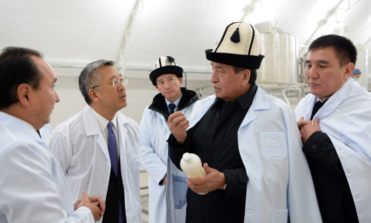 President Jeenbekov talk to Ambassador Lu
